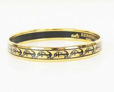 Auth HERMES Goldtone and Black Anchor Design Enamel Bangle Bracelet PM #36067