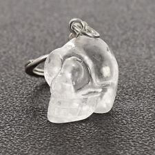 1 Piece Natural Rock Quartz Crystal Skull Carving KeyChain 1 Inch