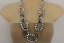 Fancy Women Grey Blue Pearl Beads Long Fashion Necklace Big Round Links Balls