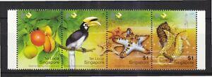 SINGAPORE 2004 CHEK JAWA HORNBILL, STAR FISH & SEAHORSE SE-TENANT 4 STAMPS MINT