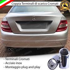 COPPIA TERMINALI DI SCARICO PER MARMITTA FINALINO CROMATO MERCEDES CLASSE C W204