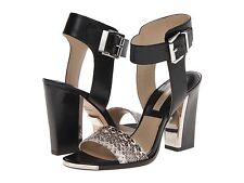 Michael Kors Carson Leather and Ayers Snake Colorblock Sandals Size 8 US/38 EU