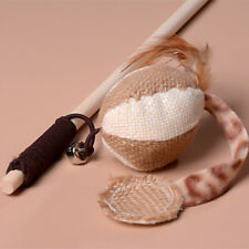 Pet Dog Cat Toy Bird Feather Teaser Training Wooden Stick Wand Mice For Kid