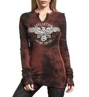 Affliction Women Thermal Reversible Shirt Eagle Key Hole Neck L/S in Black Rust