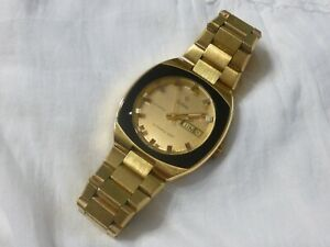 Rare Large Vintage Zodiac SST 36000 Day Date Watch Olympos Gold Original Band