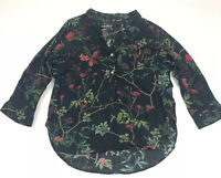 Zara Womens Blouse Dark Blue Floral V-Neck 3/4 Sleeve Casual Size Small