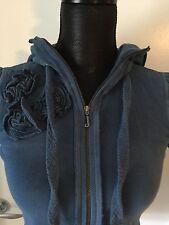 Juicy Couture Blue Cotton Flower Hoddie Jacket Sweatshirt P