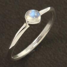 925er Sterling Silber, echt blaues Feuer regenbogen mondstein ring Alle Größen