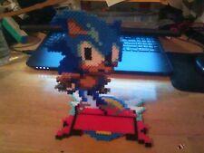 Sonic the Hedgehog 3D Standing Perler Bead Sprite Art Sega Retro Genesis