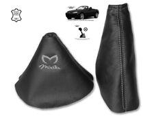 Gear & Handbrake Gaiter For Mazda MX5 MK3 2 Panels Leather Embroidery Grey