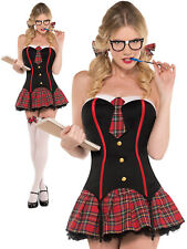 Ladies Nerdy & Flirty School Girl Costume Sexy Adults St Trinians Fancy Dress