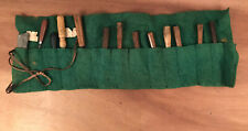 Antique Woodcarving Chisel & Gouge Set (12) In  Tool Roll + Sharpening Stone