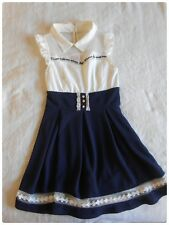 Tralala Penderie Mock-Two Piece Dress in Navy x White