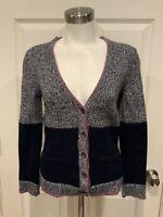 Rag & Bone Blue Color Block Wool Cardigan Sweater w/ Purple Piping, Size Small