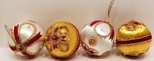 Vintage Hand Decorated Satin CHRISTMAS Balls Lot of 4