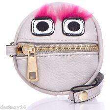 LuLu Furry Monster Fuchsia Eyebrows Wristlet Coin Purse NWT