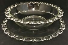 Antique Imperial Glass Clear Candlewick 2 Pc Punch Bowl Set w/ Base Plate Rare!