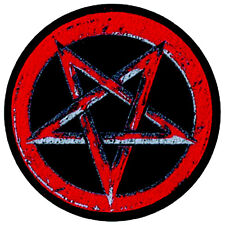 Pentagram Pentagramm rot red Aufnäher Patch Black Metal Satan Wicca Heavy NEU