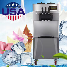 20L/H Stand Commercial Electric 3 Flavors Ice Cream Machine Steel Easy Move 2-7d