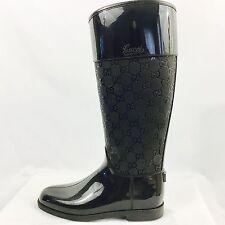 GUCCI Black Rubber Guccissima Rain Boots, size 6