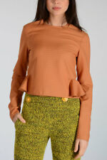TWISTY New Woman Biscuit Brown Cropped Long Sleeves Blouse Top Size S $365 SALES