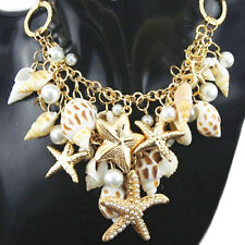 Ocean Sea Shell Faux Pearl Starfish Layered Statement Necklace Jewelry Convenien