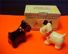 Salt and Pepper Shakers Scottish Terriers, Black with White Scottties