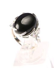 Sterling Silver Claw Set Black Onyx Ring Size N