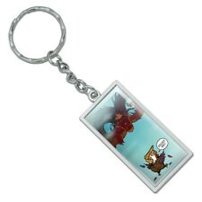 Trump Trade War with China Red Dragon Rectangle Metal Keychain