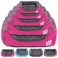 Pet Cat Dog Bed Soft Fleece Cushion House Kennel Paw Print for Small Large Dogs