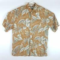 Campia Moda Mens XL Hawaiian Camp Shirt S/S Button Up Rust Orange Palm Aloha