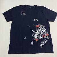 FCUK T Shirt Men's Size 2XL XXL Short Sleeve Navy Graphic Tee Crewneck Cotton