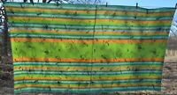 "vtg picnic themed cotton tablecloth 55x101"" Farmers Market green"
