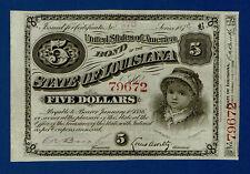 ESTADOS UNIDOS. LOUISIANA. BONO DEL ESTADO 5 DÓLARES. 1886. SC