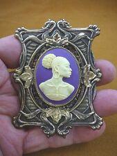 (CA20-45) RARE African American LADY purple + ivory CAMEO Pin Pendant JEWELRY