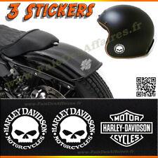3 stickers autocollant harley davidson skull iron moto casque HD sportster deco