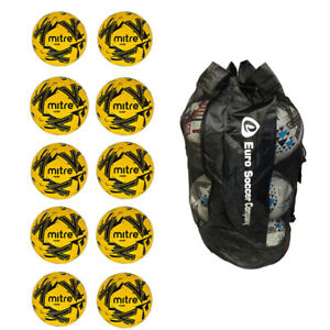 Sack of 10 Mitre Fluo Yellow Calcio Training Footballs - Balls For Team Practice
