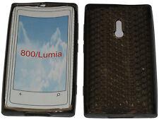 Para Nokia Lumia 800 patrón Gel Suave Funda Protectora Protector Bolsa Negro Nuevo Uk