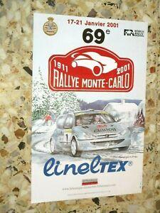 AFFICHE ORIGINALE 69 eme RALLYE MONTE CARLO 2001  WORLD RALLY ACM BERENGUIER