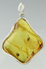 2 Fossil Insect Flies Large Genuine BALTIC AMBER Silver Pendant 20g 180530-24
