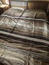 Moroccan Hand Woven Striped Sabra Silk / Chenille Throw Blanket shades brown
