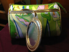 Vintage Cosmetic bag - green, yellow, blue
