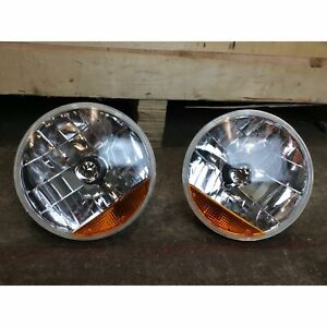 "2 x Snake-eye 7"" Inch H4 Halogen Headlight Lens Assembly Amber Turn Signal Chevy"