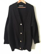 Zara Black Oversized Cardigan With Some Wool And Mohair Size L 16 Cozy Knit