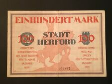 Notgeld 1922 Herford 100 Mark Inflation as seen in Paper Money Messages-Vol 2