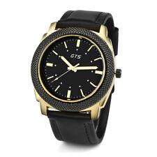 Fashion GTS Men's Date Alloy Case Synthetic Leather Analog Quartz Sport Watch UK