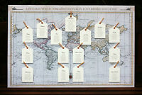 Wedding Table / Seating Plan ANTIQUE/ VINTAGE MAP & LUGGAGE TAGS-LARGE A2 Canvas