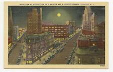 SYRACUSE NY Fayette & Genesse Street Night Vtg Postcard