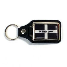 "Cornish flag  ""KERNOW""  leather medalilion KEY RING- High quality domed"