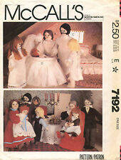 1980's VTG McCall's Dollhouse Family and Doll Clothes Pattern 7192